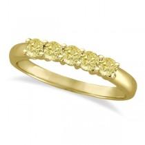 Five Stone Fancy Yellow Canary Diamond Anniversary Ring 14k Gold (0.50ct)