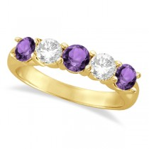 Five Stone Diamond and Amethyst Ring 14k Yellow Gold (1.92ctw)