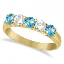 Five Stone Diamond and Blue Topaz Ring 14k Yellow Gold (1.36ctw)