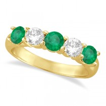 Five Stone Diamond and Emerald Ring 14k Yellow Gold (1.95ctw)