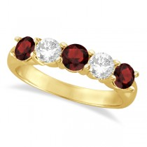 Five Stone Diamond and Garnet Ring 14k Yellow Gold (1.92ctw)