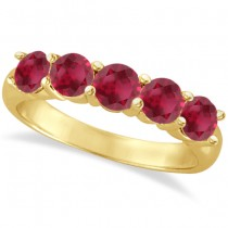 Five Stone Ruby Ring Anniversary Band 14k Yellow Gold (2.25ctw)