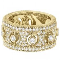 Vintage Bezel-Set Wide Band Diamond Ring 14k Yellow Gold (1.70ct)