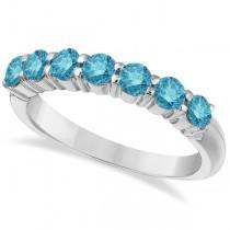 Seven-Stone Fancy Blue Diamond Ring Band 14k White Gold (1.00ct)
