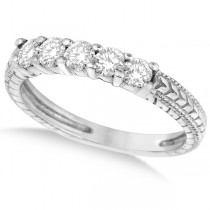 Five-Stone Vintage Filigree Diamond Ring Band 14k White Gold (0.50ct)