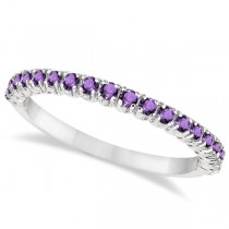 Half-Eternity Pave-Set Thin Amethyst Stacking Ring Palladium (0.65ct)