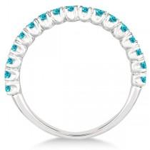 Half-Eternity Pave-Set Blue Diamond Stacking Ring Palladium (0.75ct)