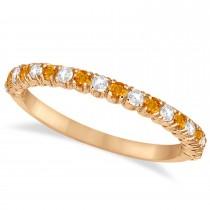 Citrine & Diamond Wedding Band Anniversary Ring in 14k Rose Gold (0.50ct)