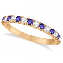 Tanzanite & Diamond Wedding Band Anniversary Ring in 14k Rose Gold (0.75ct)