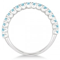Half-Eternity Pave-set Aquamarine Stacking Ring 14k White Gold (0.95ct)
