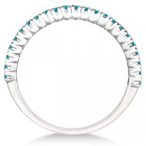 Half-Eternity Pave Blue Diamond Stacking Ring 14k White Gold (0.25ct)