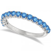 Fancy Blue Diamond Ring Anniversary Band in 14k White Gold (1.00ct)