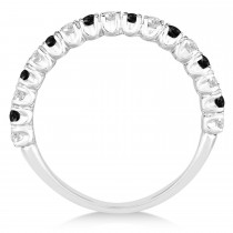 Black & White Diamond Wedding Band Anniversary Ring in 14k White Gold (0.75ct)