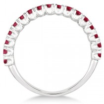 Half-Eternity Pave-set Ruby Stacking Ring 14k White Gold (0.95ct)