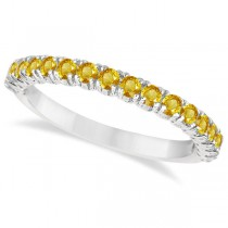 Half-Eternity Pave-Set Yellow Sapphire Stack Ring 14k White Gold (0.95ct)