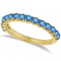 Fancy Blue Diamond Ring Anniversary Band in 14k Yellow Gold (1.00ct)