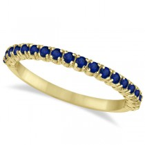 Half-Eternity Pave Thin Blue Sapphire Stack Ring 14k Yellow Gold (0.65ct)