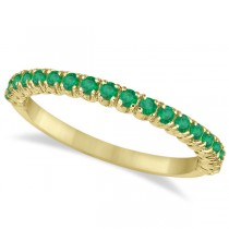 Half-Eternity Pave Thin Emerald Stacking Ring 14k Yellow Gold (0.65ct)