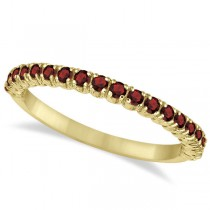 Half-Eternity Pave-Set Thin Garnet Stack Ring 14k Yellow Gold (0.65ct)