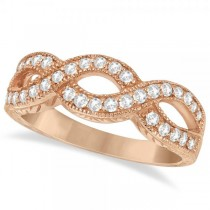 Twisted Diamond Infinity Ring 14k Rose Gold with Milgrain (0.50ct)