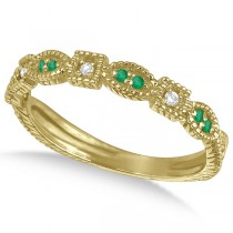 Vintage Stackable Diamond & Emerald Ring 14k Yellow Gold (0.15ct)
