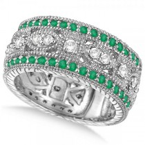 Vintage Style Byzantine Diamond & Emerald Ring 14k White Gold (1.37ct)