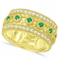 Emerald Byzantine Vintage Anniversary Band 14k Yellow Gold (1.15ct)