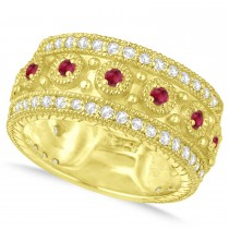 Ruby Byzantine Vintage Anniversary Band 14k Yellow Gold (1.15ct)
