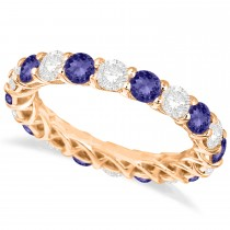 Luxury Diamond & Tanzanite Eternity Ring Band 14k Rose Gold (4.20ct)