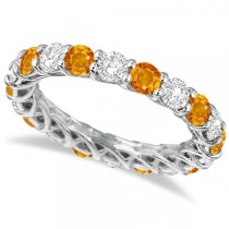Luxury Diamond & Citrine Eternity Ring Band 14k White Gold (4.20ct)
