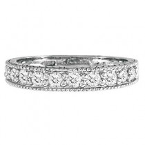 Vintage Style Diamond Wedding Ring Band Half-Way 14k White Gold 0.55ct