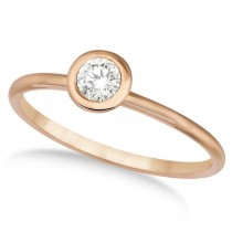 Bezel-Set Solitaire Diamond Ring in 14k Rose Gold (0.50ct)