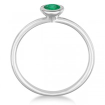 Emerald Bezel-Set Solitaire Ring in 14k White Gold (0.65ct)