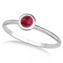 Ruby Bezel-Set Solitaire Ring in 14k White Gold (0.65ct)