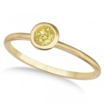 Fancy Yellow Canary Diamond Bezel-Set Solitaire Ring 14k Y. Gold (0.50ct)