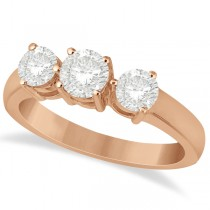Three Stone Diamond Anniversary Band in 14k Rose Gold 1.01ct