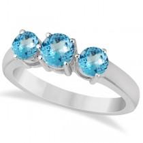 Three Stone Round Blue Topaz Gemstone Ring 14k White Gold 1.50ct