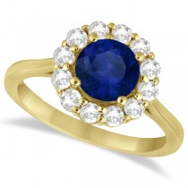 Halo Diamond Accented and Blue Sapphire Ring 14K Yellow Gold (2.14ct)