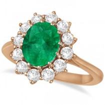 Oval Emerald and Diamond Ring 14k Rose Gold (3.60ctw)