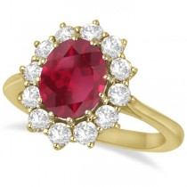 Oval Ruby & Diamond Accented Ring 18k Yellow Gold (3.60ctw)