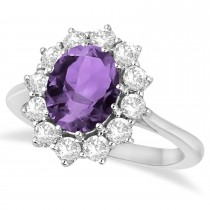 Oval Amethyst & Diamond Accented Ring in 14k White Gold (3.60ctw)