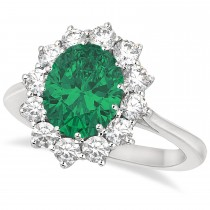 Oval Emerald & Diamond Accented Ring 18k White Gold (3.60ctw)