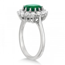 Oval Emerald and Diamond Ring 14k White Gold (3.60ctw)
