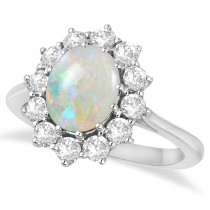 Oval Shape Opal & Diamond Accented Ring in 14k White Gold (3.60ctw)