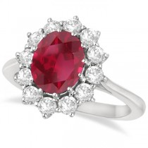 Oval Ruby & Diamond Accented Ring 18k White Gold (3.60ctw)