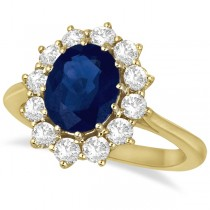 Oval Blue Sapphire & Diamond Accented Ring 18k Yellow Gold (3.60ctw)