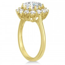 Oval Moissanite and Diamond Ring 18k Yellow Gold (3.60ctw)