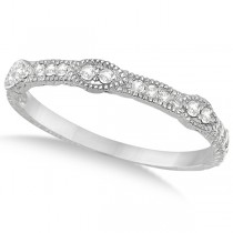 Pave Set Vintage Stacking Diamond Ring Band 14k White Gold (0.15ct)