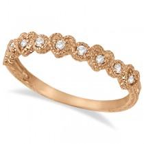 Pave Set Heart Design Diamond Ring Band 14k Rose Gold (0.15ct)