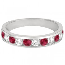 Channel-Set Ruby & Diamond Ring Band 14k White Gold (1.20ctw)